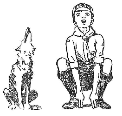 Baden-Powell's grand howl illustration in The Wolf Cub's Handbook 1916