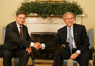 Dutch Prime Minister Jan Peter Balkenende and U.S. President George W. Bush in the Oval Office on 5 June 2008. Balkenende visits Bush June 2008.jpg