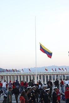 Venezuelan Flag At Half Mast In Mourning For The Death Of President Chvez