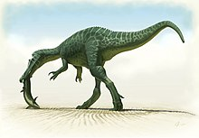 Colour drawing of a long-tailed dinosaur walking on its hind legs, with a fish in its mouth