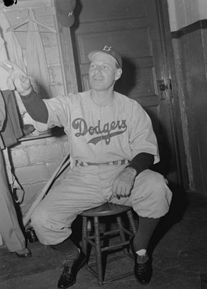 Leo Durocher - Durocher in the dressing room of Delorimier Stadium in Montreal in July 1946.