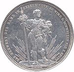 Front–facing male in regalia, holding long sword. Legend along edge.