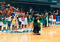 Basketball venue with Aus mascot Atlanta Paralympics.jpg