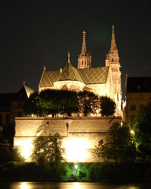 Basel Minster - Basel Minster by night