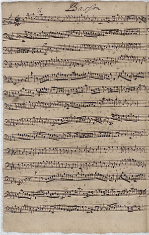 Wachet auf, ruft uns die Stimme, BWV 140 - The first page of the bassoon part in Bach's hand from the archives of the Thomaskirche, one of few surviving instrumental parts written by him