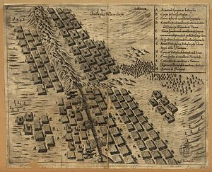 Battle of Montes Claros - Contemporary Italian engraving of the battle