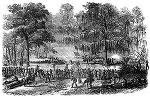 Battle of Bayou Bourbeux - Attack on the Sixtieth Indiana. Frank Leslie, artist