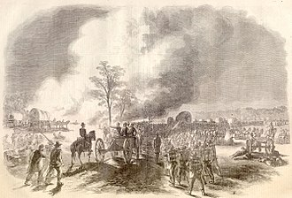 Battle of Seven Pines - Franklin's corps retreating from the Battle of Fair Oaks (from a sketch by Alfred R. Waud)