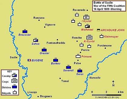 Battle of Sacile, 16 April 1809, showing morning positions