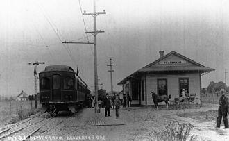 MAX Light Rail - An Oregon Electric train seen in Beaverton