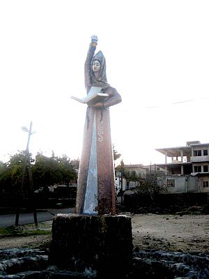 Circassians in Syria - Statue of Satanaya in the Circassian village of Beer Ajam, in the Golan Heights region of Syria