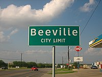 Entrance sign at Beeville, Texas