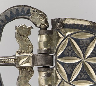 Niello - Detail of a Late Roman silver-gilt buckle from Gaul, c. 400 AD
