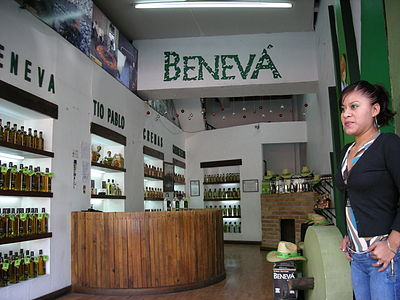 A Beneva mezcal dealer in the city of Oaxaca Benevamezcaloaxaca.jpg