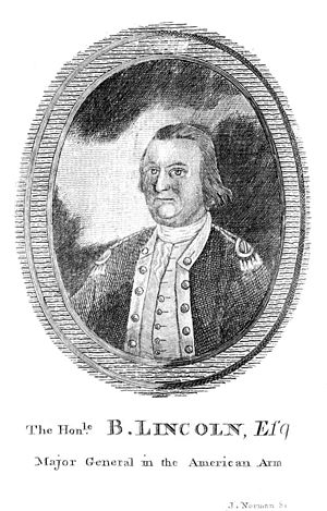 Benjamin Lincoln - The Hon. B. Lincoln, Esq., major general in the American Army. Etching from 1782