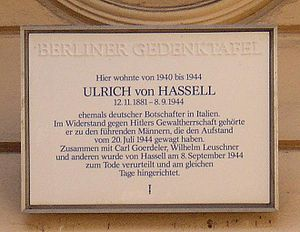 Ulrich von Hassell - Memorial plaque for Ulrich von Hassell where he lived in Berlin-Charlottenburg.