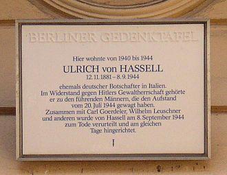 Ulrich von Hassell - Memorial plaque for Ulrich von Hassell where he lived in Berlin-Charlottenburg.