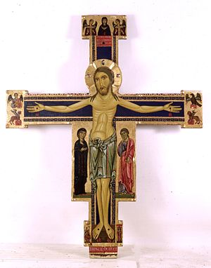 Berlinghiero Berlinghieri - Crucifix, ca. 1220, now at the National Museum of Villa Guinigi in Lucca.