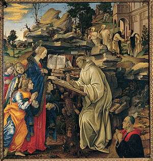 Apparition of the Virgin to St Bernard (Filippino Lippi) - Image: Bernardo claraval filippino lippi