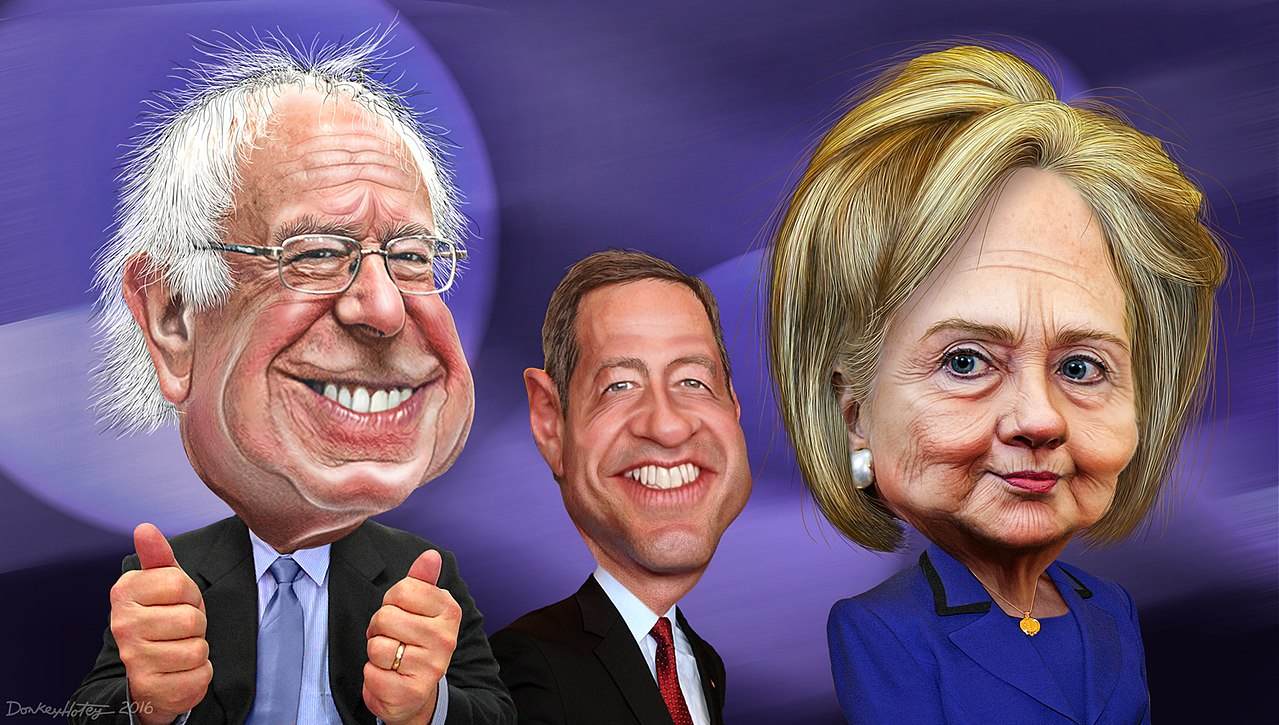Bernie Sanders, Martin O'Malley and Hillary Clinton - Caricatures (24010088053).jpg