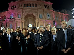 Argentina Bicentennial - South American presidents at the celebrations. From left to right: President Sebastián Piñera of Chile, President Rafael Correa of Ecuador, President Cristina Fernández de Kirchner of Argentina, President Fernando Lugo of Paraguay, President Evo Morales of Bolivia, President Lula da Silva of Brazil, President Pepe Mujica of Uruguay, and UNASUR Secretary-General Néstor Kirchner.