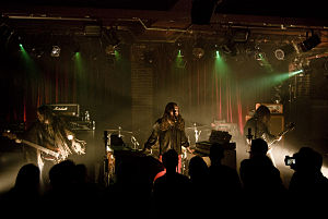 Bigelf - Bigelf live in Paris in 2010. From left to right: Duffy Snowhill, Damon Fox and Ace Mark. Steve Frothingham is just behind Fox.