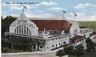 Bimini Baths - An exterior view of the Bimini Hot Springs building, circa 1920