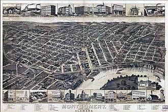 William Burns Paterson - Bird's Eye View of Montgomery in 1887, Alabama