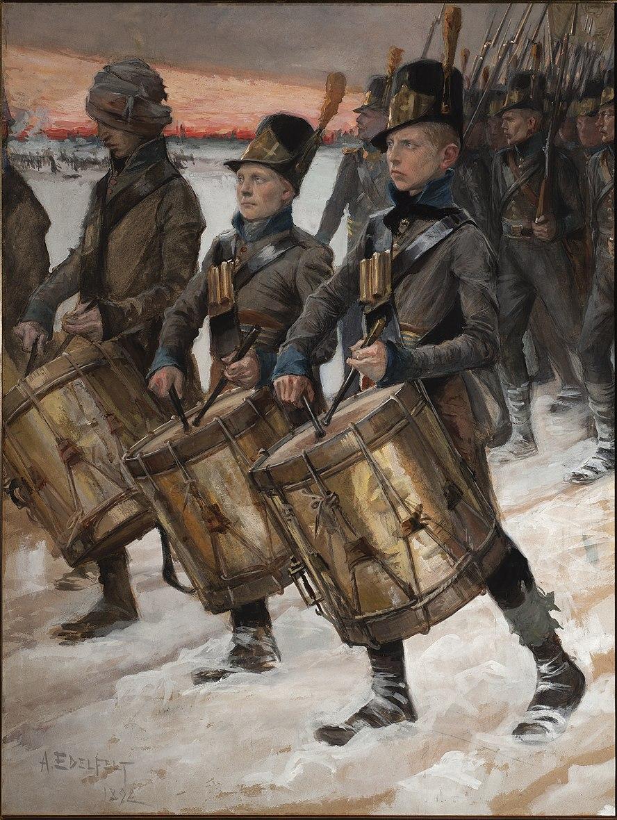 Edelfeltin maalaus Porilaisten marssi, joka kuvaa tunnettua Porin rykmenttiä. Edelfelt teki virheen maalatessaan sotilaille vanhemmat sotapuvut kuin tuolloin oli todellisuudessa käytössä.