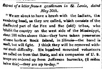 Black Hawk War - Newspaper account of the alarm caused by Sauk returning to Saukenuk, Washington National Intelligencer, June 13, 1831