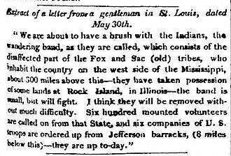 Black Hawk War - Newspaper account of the alarm caused by Sauk returning to Saukenuk, Washington National Intelligencer, June 13, 1831
