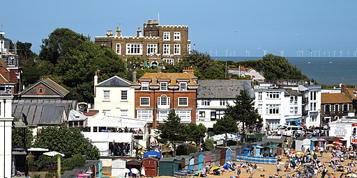 Bleak House and Viking Bay beach and buildings at Broadstairs Kent England