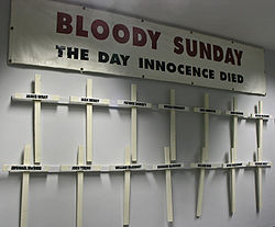Bloody Sunday Banner and Crosses
