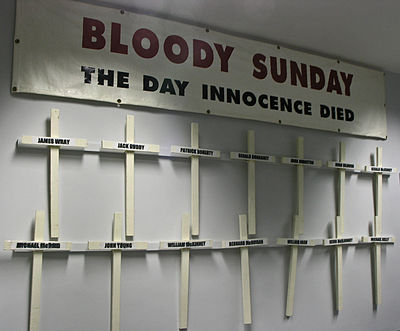Banner and crosses carried by the families of the Bloody Sunday victims on the yearly commemoration march. Bloody Sunday Banner and Crosses.jpg