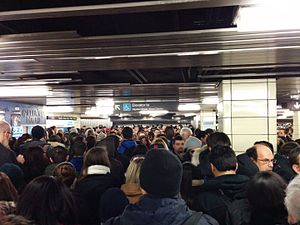 Toronto Transit Commission incidents - Bloor–Yonge station during a service disruption on the Yonge line.