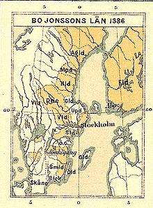 Historisk kort over Bo Jonssons amt 1386