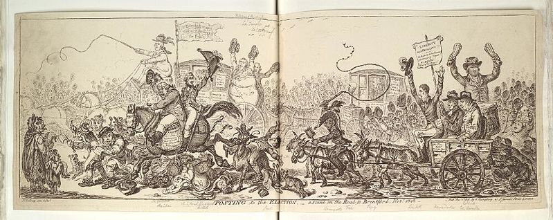 File:Bodleian Libraries, Posting to the election- A scene on the road to Brentford, Novr 1806.jpg