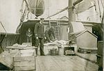 Body of RMS Titanic victim aboard rescue vessel CS Minia, April or May 1912.jpg