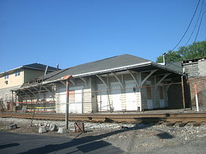 Bogota, New Jersey - The former New York, Susquehanna and Western Railroad station, as seen in August 2011, has since been integrated into a nearby building