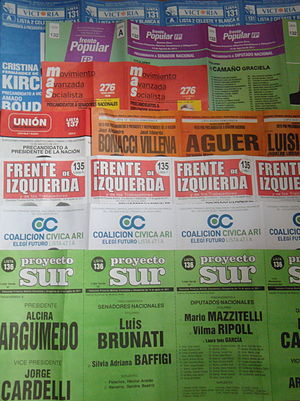 Argentine general election, 2011 - Ballots used in the primary elections on 14 August.