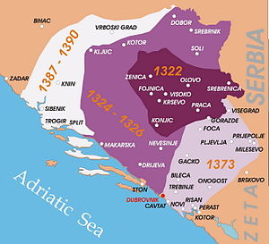 South Slavs - Map showing the expansion of the Bosnian Kingdom