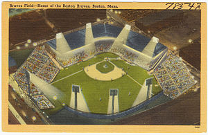 Braves Field - Postcard showing the lights shortly after installation in 1946/47.