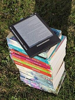 Bouquin électronique iLiad sur une pile de livre dehors au soleil