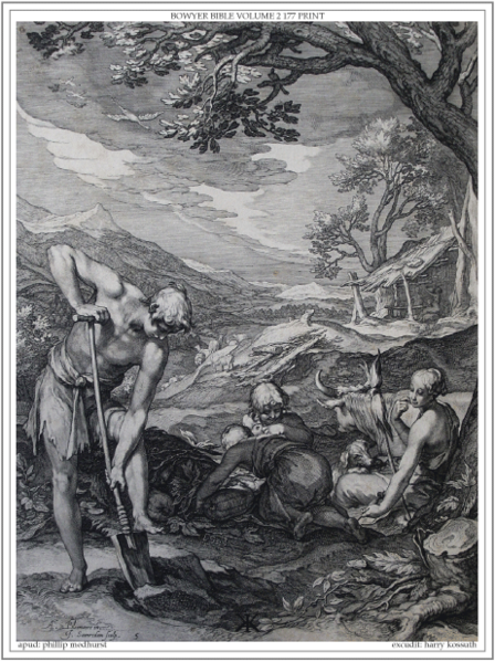 File:Bowyer Bible Volume 2 Print 177. The First Family. Genesis. Bloemaert.png