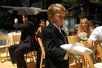 English: Little boy in a suit solemnly carries...