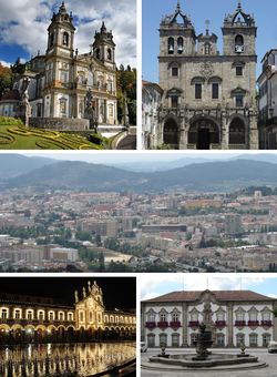 From left to right: Bom Jesus do Monte, Braga Cathedral, Braga Baixa, Republic Square, Municipal Palace. Braga is known as Roma Portuguesa (Portuguese Rome).