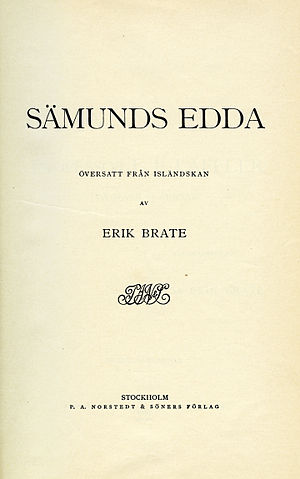 Erik Brate - Title page of Sämunds Edda (1913), the first edition of Erik Brate's translation of the Poetic Edda.