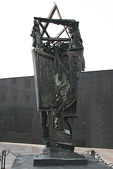 Metal sculpture with a Star of David on top