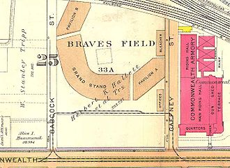 "Green Line ""B"" Branch - 1916 map showing the loop at Braves Field"