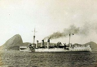 Constitutionalist Revolution - The cruiser Rio Grande do Sul main warship of Brazilian Navy in the theater of operations.